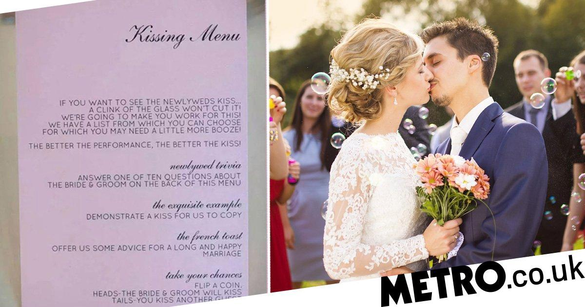 Couple give wedding guests a 'kissing menu' if they want to see a smooch