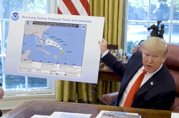 Trump Showed Off A Fake Hurricane Dorian Forecast Map To Support His False Claim It Would Hit Alabama