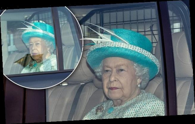 Queen looks elegant in a turquoise as she heads to Sunday service