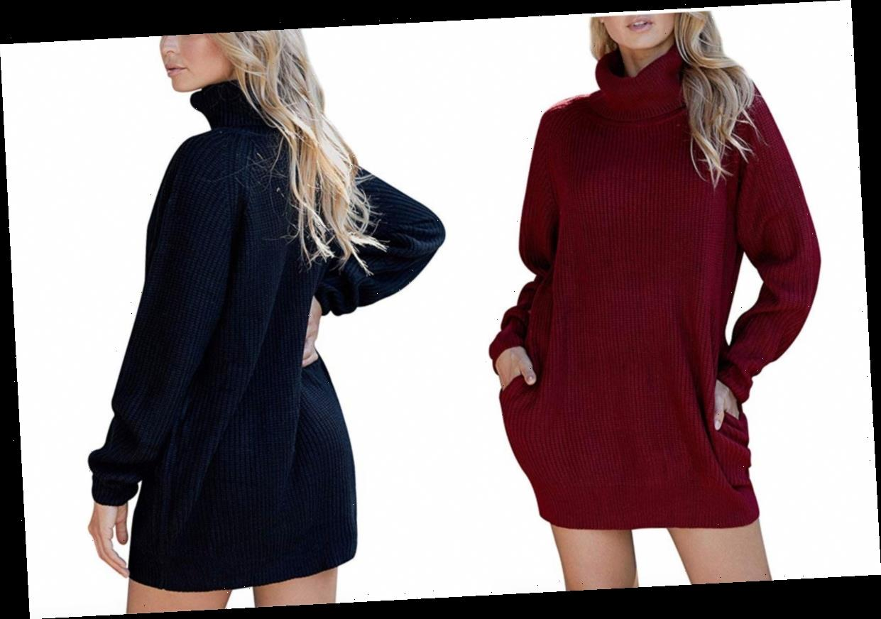Score This Oversized Sweater Dress for Half the Price on Amazon!