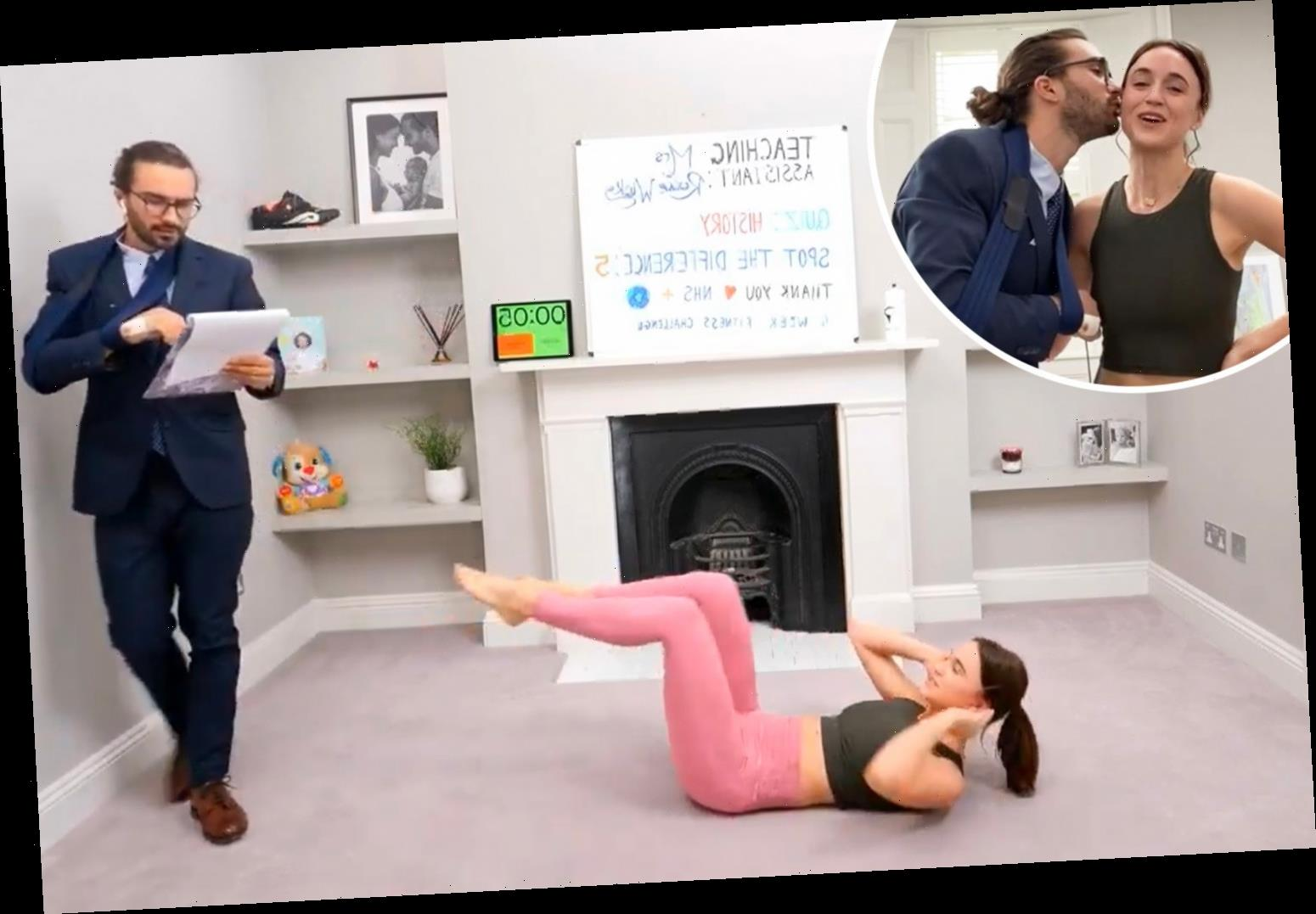 Joe Wicks' 'hot' model wife Rosie wins over fans as she takes over his workout who demand they become double act – The Sun