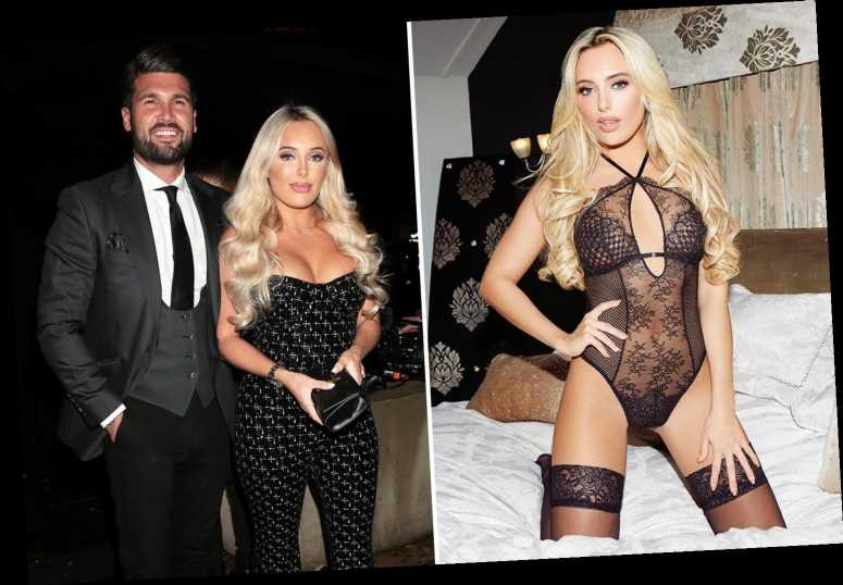 Towie star Amber Turner shows off her dark side in sexy black lockdown lingerie and stockings