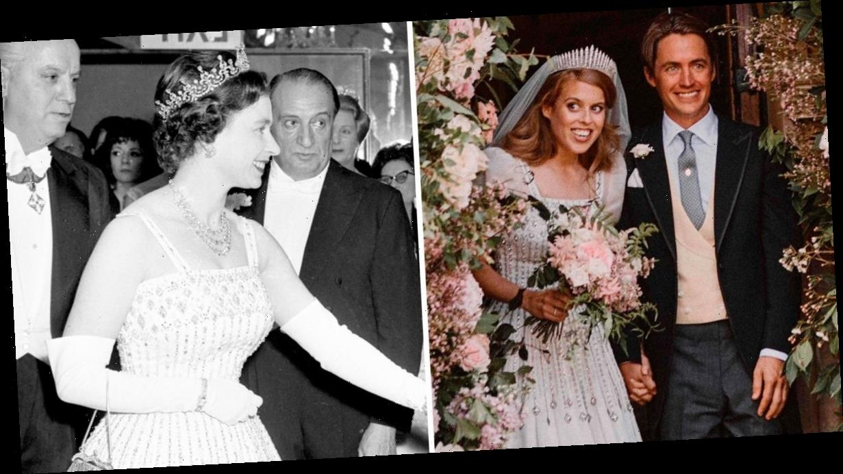 Queen lends Princess Beatrice stunning diamanté encrusted gown and tiara for royal wedding in Windsor