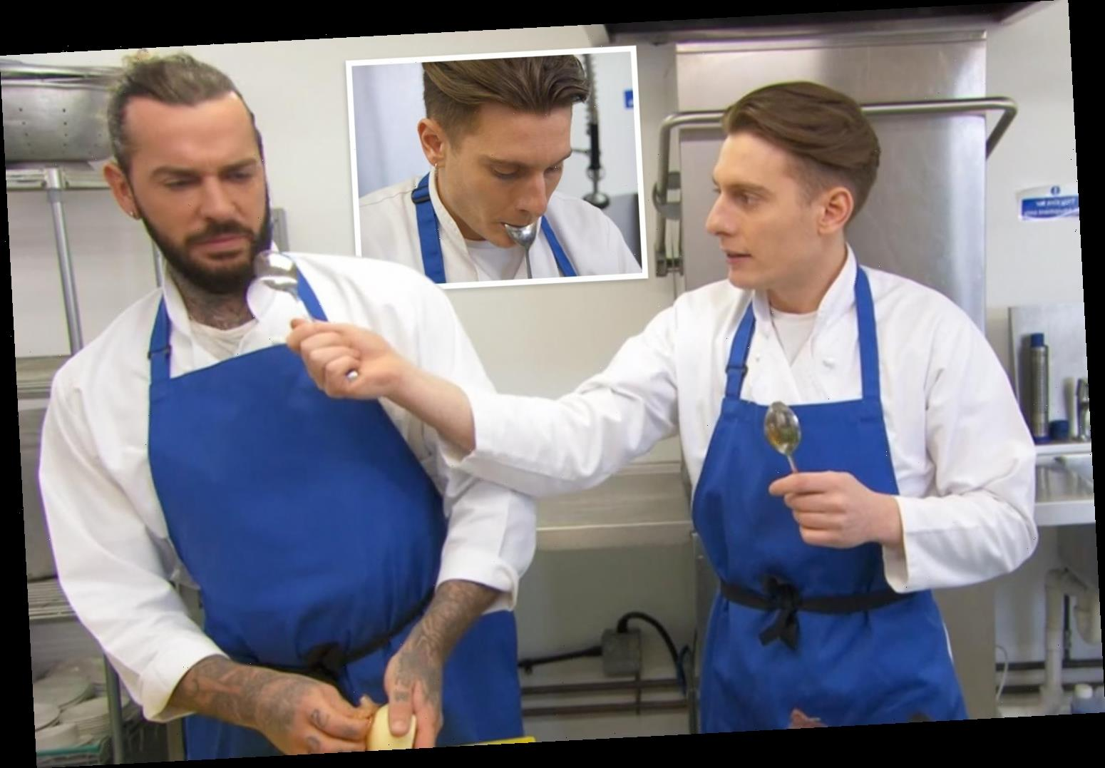 Celebrity Masterchef fans in hysterics as Riyadh Khalaf tries to shove spoon in Pete Wicks' mouth in genius cooking hack