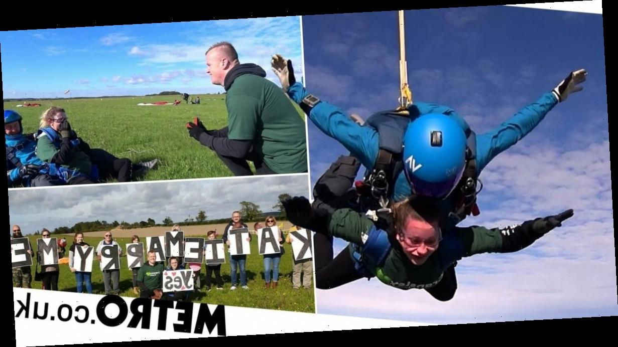 Daredevil boyfriend proposes to girlfriend while they skydive from 13,000ft