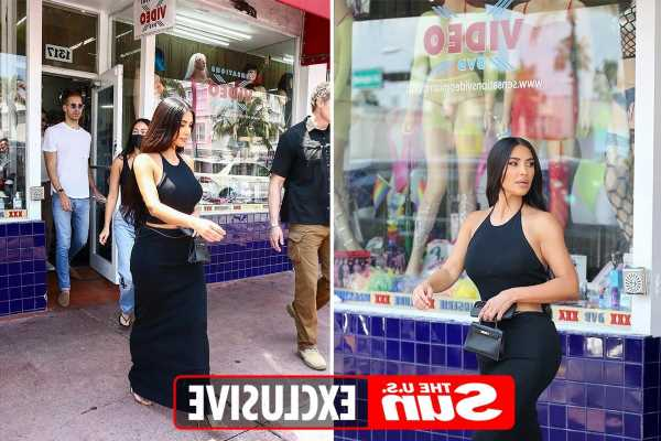 Kim Kardashian visits Miami sex shop and leaves with bags of goodies before hopping on plane back to LA