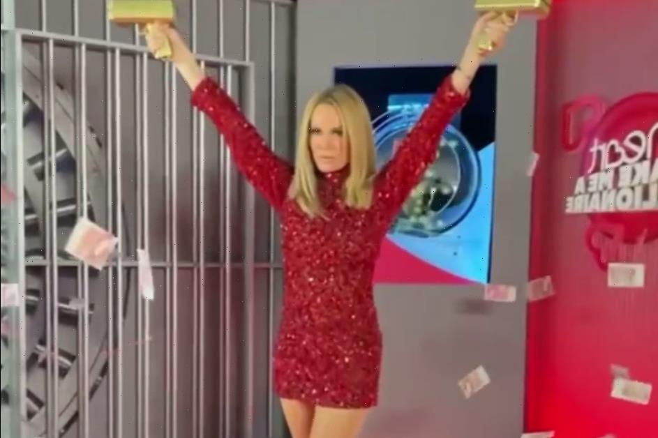 Amanda Holden flashes her tanned legs in glittery red mini-dress for cash giveaway