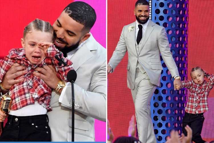 Drake's sobbing son Adonis, 3, steals the show as rapper accepts Artist of the Decade gong at Billboard Music Awards