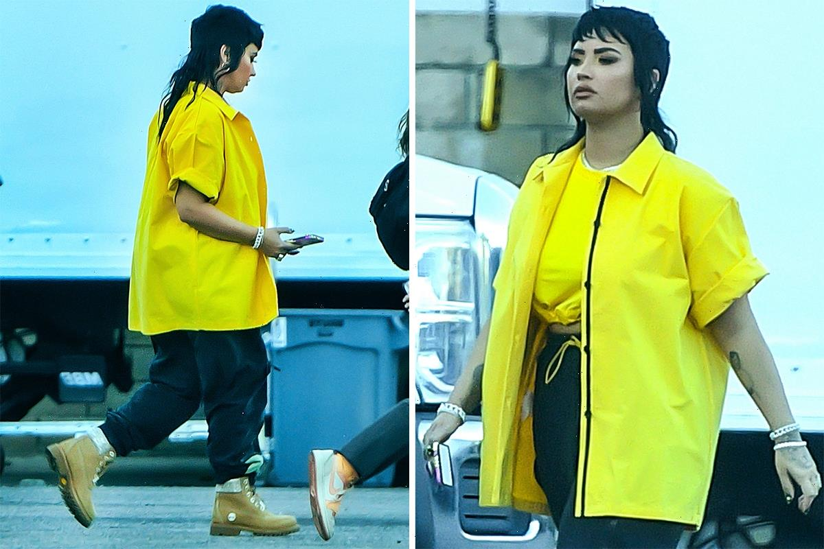 Demi Lovato shows off a MAJOR mullet on the set of their new music video