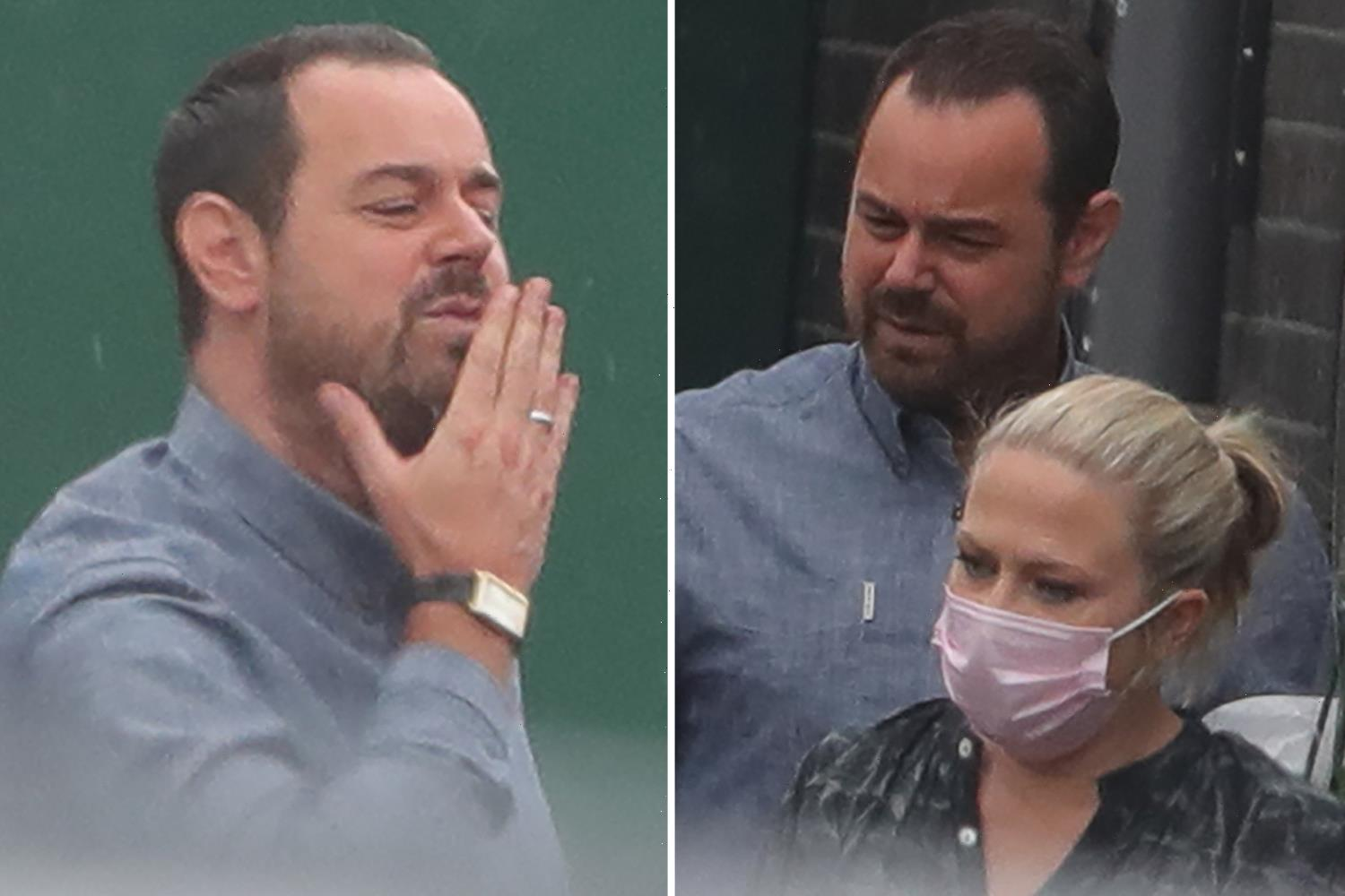 EastEnders' Danny Dyer blows Kellie Bright a kiss as pregnant star leaves set for the final time before having her baby