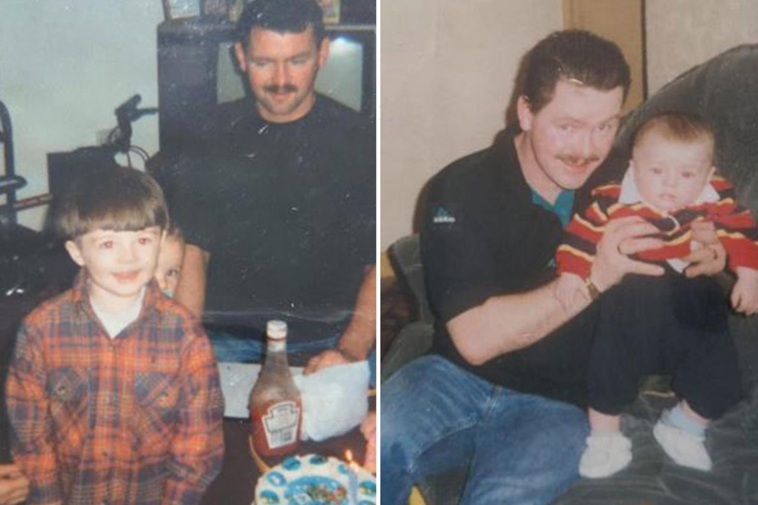 Gogglebox's Tom Malone is unrecognisable with moustache and full head of hair in previously unseen throwbacks with son