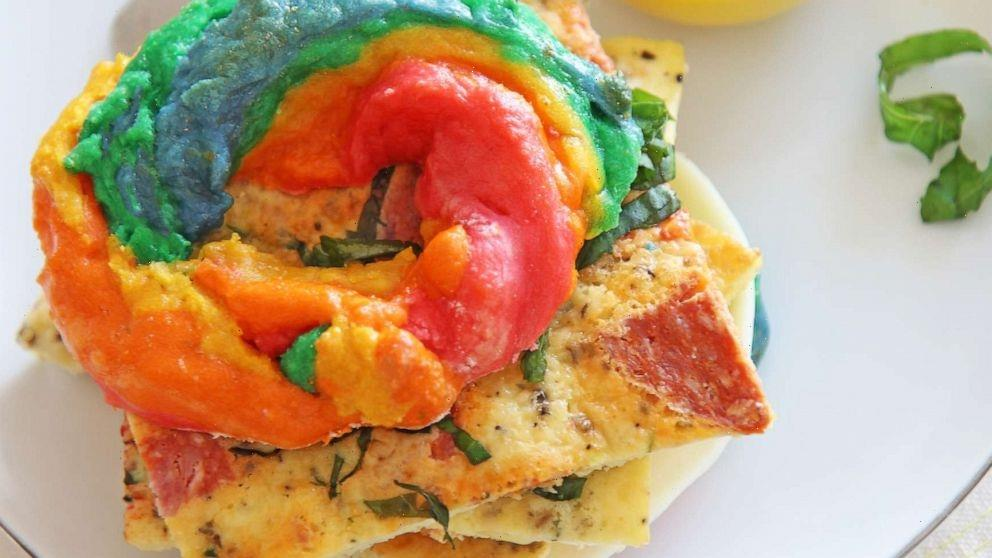 How to make 3-ingredient rainbow bagels for an easy pride-themed brunch