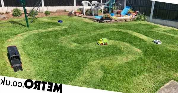 Mum creates grass racetrack with lawnmower to keep kids entertained for hours