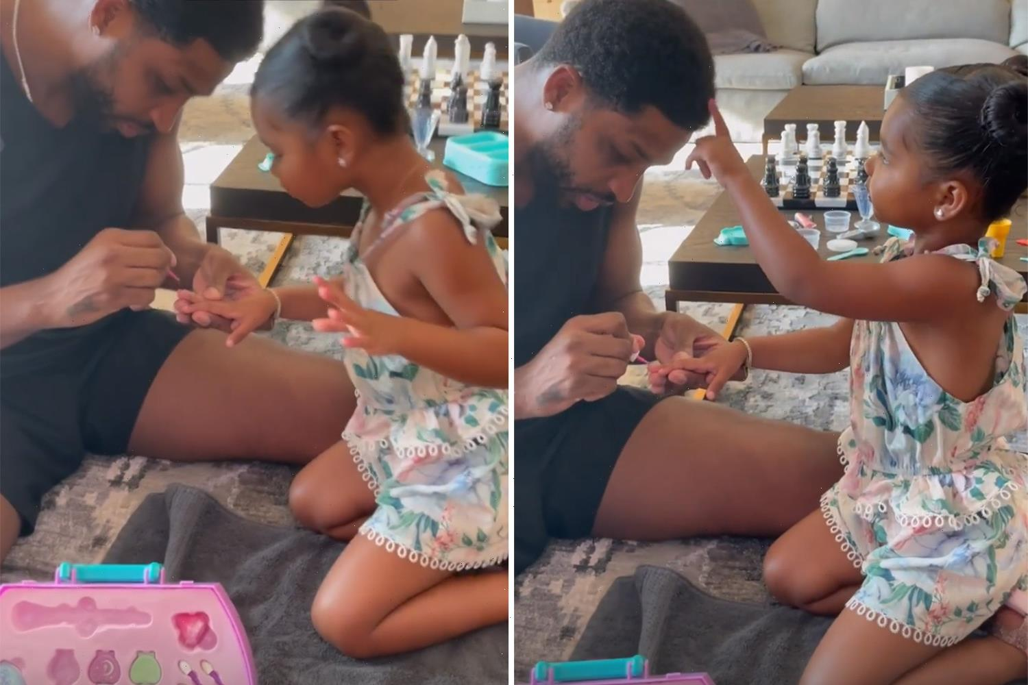 Tristan Thompson paints daughter True's nails in sweet video after split from Khloe Kardashian following cheating rumors