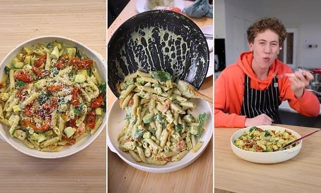 Young cook shares his simple recipe for a creamy chicken pesto pasta
