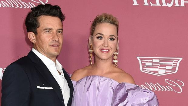 Katy Perrys Fiancé Orlando Bloom Runs On Stage To Fix Her Dress Ahead Of Performance  Watch